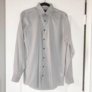 J.Ferrar Men's Light Grey Solid Slim Dress Shirt